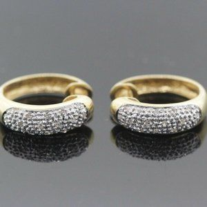 Womens 14kYellow Gold & Diamond Pave Earrings